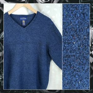 Club Room Blue Speckle Lambswool  Dad Sweater